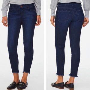 LOFT Dark Wash Distressed Skinny Jeans